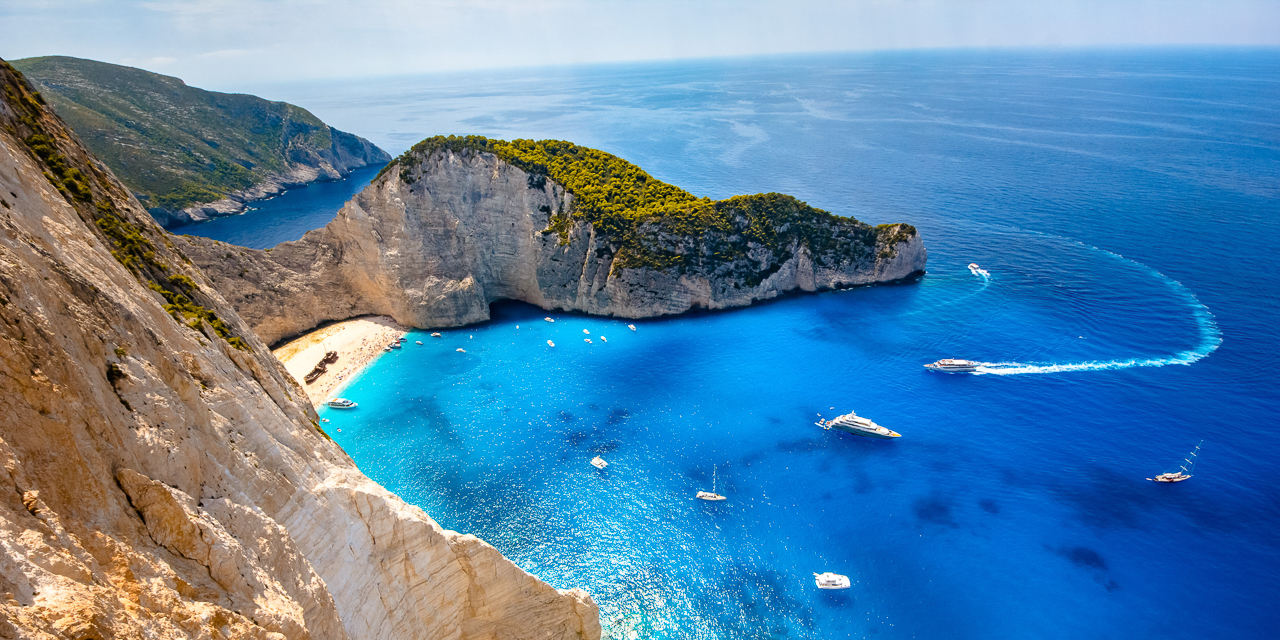 Navagio beach. Shipwreck bay, Zakynthos island, Greece. View from above.